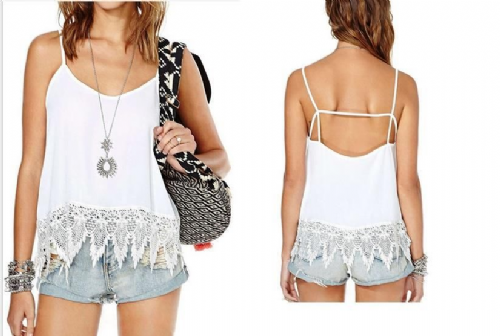 Women Ladies Sleeveless Embroidery Lace Casual Vest Tops T-Shirt Blouse